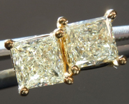SOLD...Yellow Diamond Earrings: .84cts W-X, Natural Light Yellow Princess Cut Diamond Stud Earrings R4592
