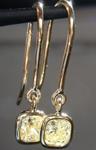 SOLD...Yellow Diamond Earrings: .83cts Fancy Light Yellow VS2 Cushion Cut Dangle Earrings R5451