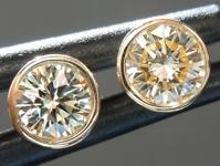SOLD...Yellow Diamond Earrings: .34cts W-X VS1 Round Brilliant Bezel Set Studs R4568