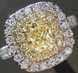 SOLD...Yellow Diamond Ring: .46ct Fancy Yellow VS1 Cushion Cut Diamond Double Halo Ring R5452