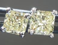 SOLD...Yellow Diamond: .64cts Y-Z VS1 Radiant Cut Diamond Stud Earrings R5455