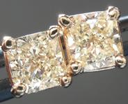 SOLD.....Yellow Diamond Earrings: .64cts Y-Z SI1 Radiant Cut Diamond Stud Earrings R5456