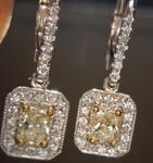 SOLD...Yellow Diamond Earrings: .72cts W-X VS1 Radiant Cut Diamond Halo Dangles R5453