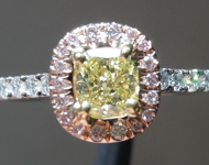 SOLD.....0.40ct Fancy Yellow VVS2 Cushion Cut Diamond Ring R5449