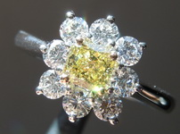 SOLD.....  Yellow Daisy Diamond Ring: .38ct Fancy Intense Yellow SI1 Cushion Cut GIA Near Perfection R5447