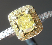 0.35ct Intense Yellow VS1 Cushion Cut Diamond Ring R5445