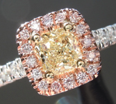 SOLD...Yellow Diamond Ring: .40ct Y-Z VS2 Cushion Cut GIA Pink Diamond Halo R5461