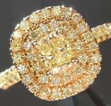 SOLD.....Yellow Diamond Ring: .38ct Fancy Yellow SI2 Cushion Cut GIA Double Diamond Halo R5465