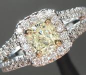 SOLD.....Yellow Diamond Ring: .41ct U-V SI2 Cushion Cut GIA Split Shank Halo R5476