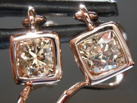 SOLD...Brown Diamond Earrings: .98ctw Fancy Yellow Brown SI1 Cushion Cut Dangle Earrings R5512