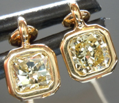 SOLD...Yellow Diamond Earrings: .54ctw Fancy Intense Yellow VS Radiant Cut Dangle Earrings R5510