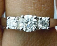 SOLD...Colorless Diamond Ring: .75ctw G SI2 Round Brilliant Three Stone Ring Trade In Special R3751