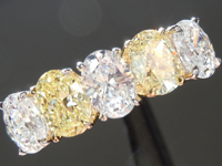 SOLD...Yellow Diamond Ring: 1.50ctw Fancy Yellow & Colorless Oval Shape Five Stone Ring R5400