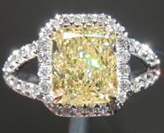 SOLD.....Yellow Diamond Ring: 2.14ct Fancy Light Yellow SI1 Radiant Cut GIA Split Shank Halo R5540
