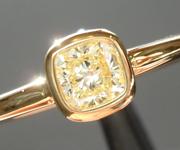 SOLD...Yellow Diamond Ring: .34ct W-X VS1 Cushion Cut Bezel Set Ring Ring R5473