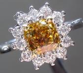 SOLD...Yellow Diamond Ring: 1.02ct Fancy Deep Brownish Yellow VS1 Cushion Cut GIA Princess Halo R5585