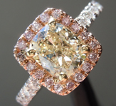 SOLD...Yellow Diamond Ring: 1.08ct O-P SI2 Cushion Cut Diamond Halo Ring GIA R5498