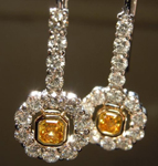 SOLD....Orange Diamond Earrings: .39ctw Fancy Intense Yellow-Orange Asscher Cut Dangles R5532