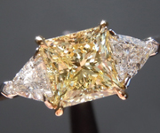 SOLD....Yellow Diamond Ring: 1.23ct Fancy Light Yellow SI2 Princess Cut GIA Classic Three Stone R5634