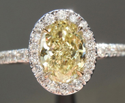 SOLD.....Yellow Diamond Ring: .90ct Fancy Yellow SI2 Oval Shape GIA Halo Ring R5662