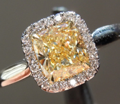 SOLD.....Yellow Diamond Ring: 1.02ct Fancy Light Yellow VVS2 Cushion Cut GIA Hand Forged Halo R5665