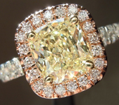 SOLD.....Yellow Diamond Ring: 1.54ct W-X VS2 Cushion Cut GIA Pink Diamond Halo R5609