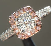 SOLD...Diamond Ring: .53ct F I1 Round Brilliant Pink Diamond Halo Ring R5630