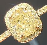 SOLD....Yellow Diamond Ring: 1.54ct Fancy Light Yellow VS2 Cushion Modified Brilliant GIA Yellow Diamond Halo R5747