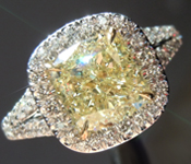 SOLD...Yellow Diamond Ring:2.02ct Y-Z VVS2 Cushion Cut Diamond Halo Ring GIA R5758