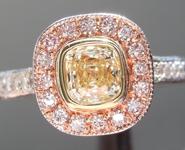 SOLD...Yellow Diamond Ring: .55ct W-X Internally Flawless Cushion Cut GIA Pink Halo R5655