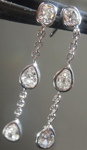 SOLD...Colorless Diamond Earrings: .79ctw G VS Old Mine Brilliant and Pear Shape Diamond Dangle Earrings R5618