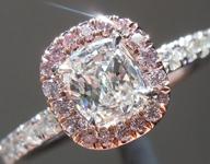 SOLD...Colorless Diamond Ring: .50ct G VS1 Cushion Cut GIA Pink Diamond Halo R5695
