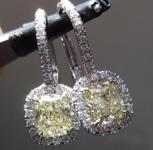 SOLD.....Yellow Diamond Earrings: 1.45cts Y-Z VVS Cushion Cut Diamond Dangle Earrings GIA R5660