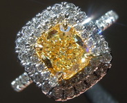 SOLD...Yellow Diamond Halo RIng: 1.14ct Y-Z Internally Flawless Cushion Cut GIA Lovely Stone R5799