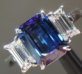 SOLD....Sapphire Ring: 3.02ct Blue Emerald Cut Sapphire and Diamond Ring R5751