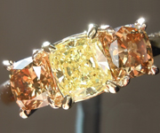 SOLD....Yellow Diamond Ring: .66ct Fancy Intense Yellow I1 Cushion Cut Diamond Ring GIA  R5717