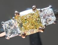 SOLD.... Yellow Diamond Ring: .70ct Fancy Intense Yellow I1 Cushion Cut GIA Three Stone R5716