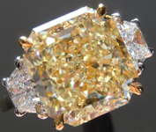 SOLD.....Yellow Diamond Ring: 5.01ct Y-Z VS1 Radiant Cut GIA Three Stone Ring R5806
