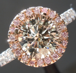 SOLD.....Brown Diamond Ring: 1.09ct S-T Light Brown, SI1 Round Brilliant Diamond Halo Ring GIA R5793