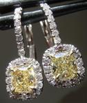 SOLD...Yellow Diamond Earrings: 1.01cts Y-Z VVS2 Cushion Cut Diamond Halo Earrings R5644