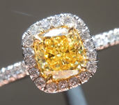SOLD...Yellow Diamond Ring: .79ct Fancy Intense Yellow SI2 Cushion Cut GIA Hand Forged Halo R5870