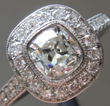 SOLD.....Colorless Diamond Ring: .86ct G VS2 Old Mine Brilliant GIA Platinum Halo R5859