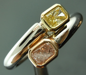 SOLD...Diamond Ring: .23ct Fancy Light Pink SI2 and .19ct Fancy Yellow Radiant Cut Diamond Ring R5867