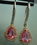 SOLD.........Sapphire Earrings: 1.60cts Pink Pear Shape Sapphire and Diamond Halo Earrings R5835