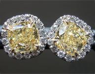 SOLD....Yellow Diamond Earrings: 2.12cts Y-Z VS2 Cushion Cut GIA Halo Earrings R5673