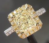 SOLD.....Yellow Diamond Ring: 2.03ct O-P SI2 Radiant Cut Diamond Halo Ring R5897