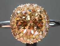 SOLD...Brown Diamond Ring: 1.13ct Fancy Brownish Yellow SI2 Round Brilliant Diamond Halo Ring R5880