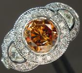 SOLD...Orange Diamond ring: .93ct Fancy Deep Brown-Orange I1 Round Brilliant Diamond Halo Ring GIA R6043