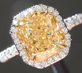 SOLD...Yellow Diamond Ring: 2.15ct Y-Z VVS2 Radiant Cut Diamond Halo Ring GIA R6046