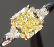 SOLD...Yellow Diamond Ring: 1.28ct Fancy Intense Yellow SI1 Radiant Cut Three Stone Diamond Ring GIA R6055